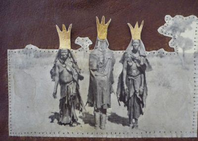 THREE KINGS - 2010 | 25 x 20 cm | Mixed media paper, leather, gold