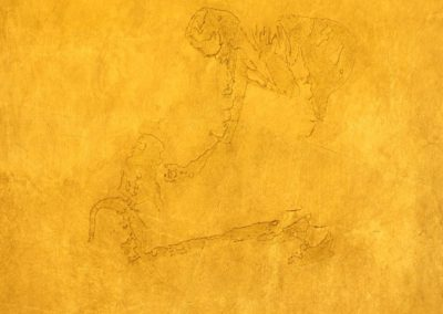 FEED THE MONKEY - 2010 | tile size | Goldleaf on wood
